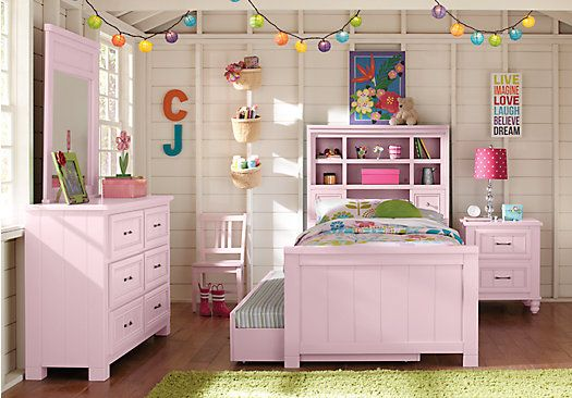 picture of cottage colors pink 5 pc twin bookcase bedroom from teen