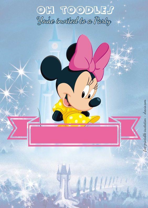 Minnie Mouse | Gold & Pink Striped Photo Birthday Invitation | Zazzle.com