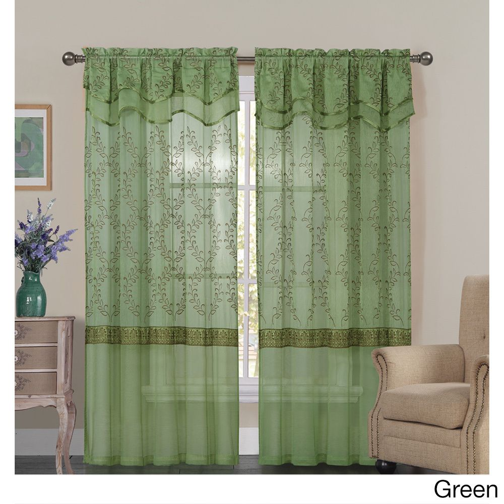Vcny Everwood Embroidered Sheer Curtain Panel (55x90 - Green), Size 90 Inches (Polyester, Floral)