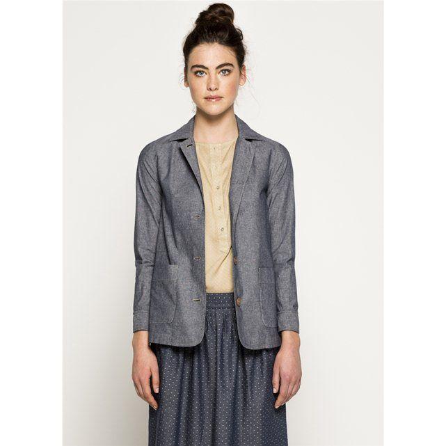 Casaco em algodão cambraia estilo camisa, para mulher, DASHINO SOMEWHERE