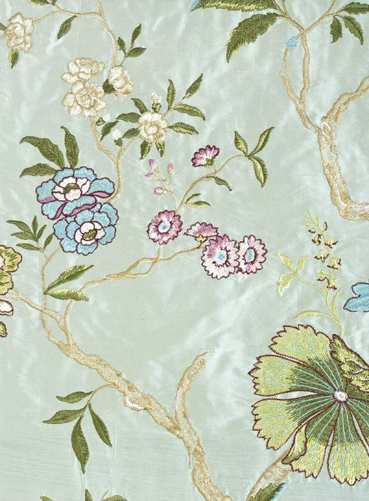 Oriental bird embroidered silk curtain fabric pale aqua