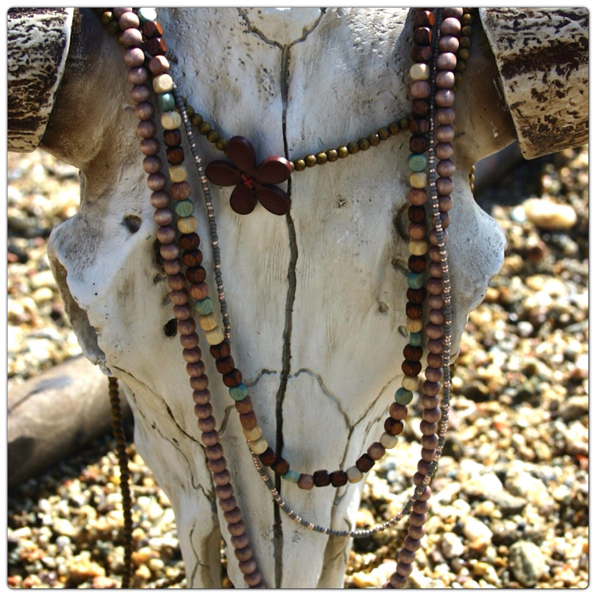 Sautoirs bois perles d'Au