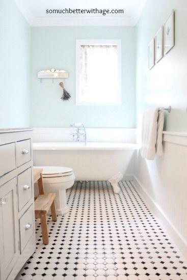 Vintage Bathroom Remodel With Gorgeous Tile Floor Keep It Clean And Shiny Tide Oxi