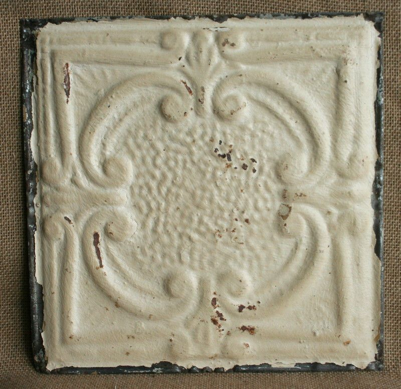 "12"" Antique Tin Ceiling Tile - Rusty Cream Paint with Pretty Design --- A2"