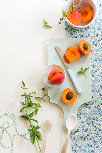 Baby Apricots with Fresh Mint Leaves
