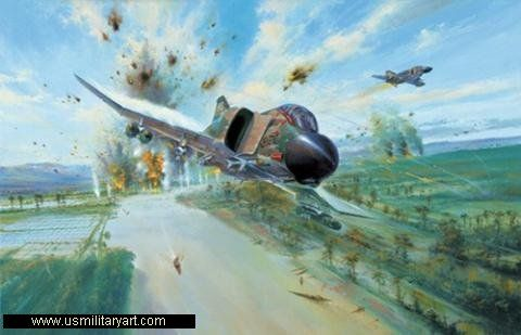 "This is Simon Atack's powerful limited edition print depicting the high-speed, low-level attack by F-4 Phantoms of the 435th Tactical Fighter Squadron (the ""Eagles"") on the bridge near Viet Tri on May 24, 1967.  Simon brilliantly captures the hair-raising moment as the F-4U Ol' Eagle Eye hurtles from the attack area, the air filled with shell bursts, tracers, smoke, and explosions, creating terror among the bridge's defenders"