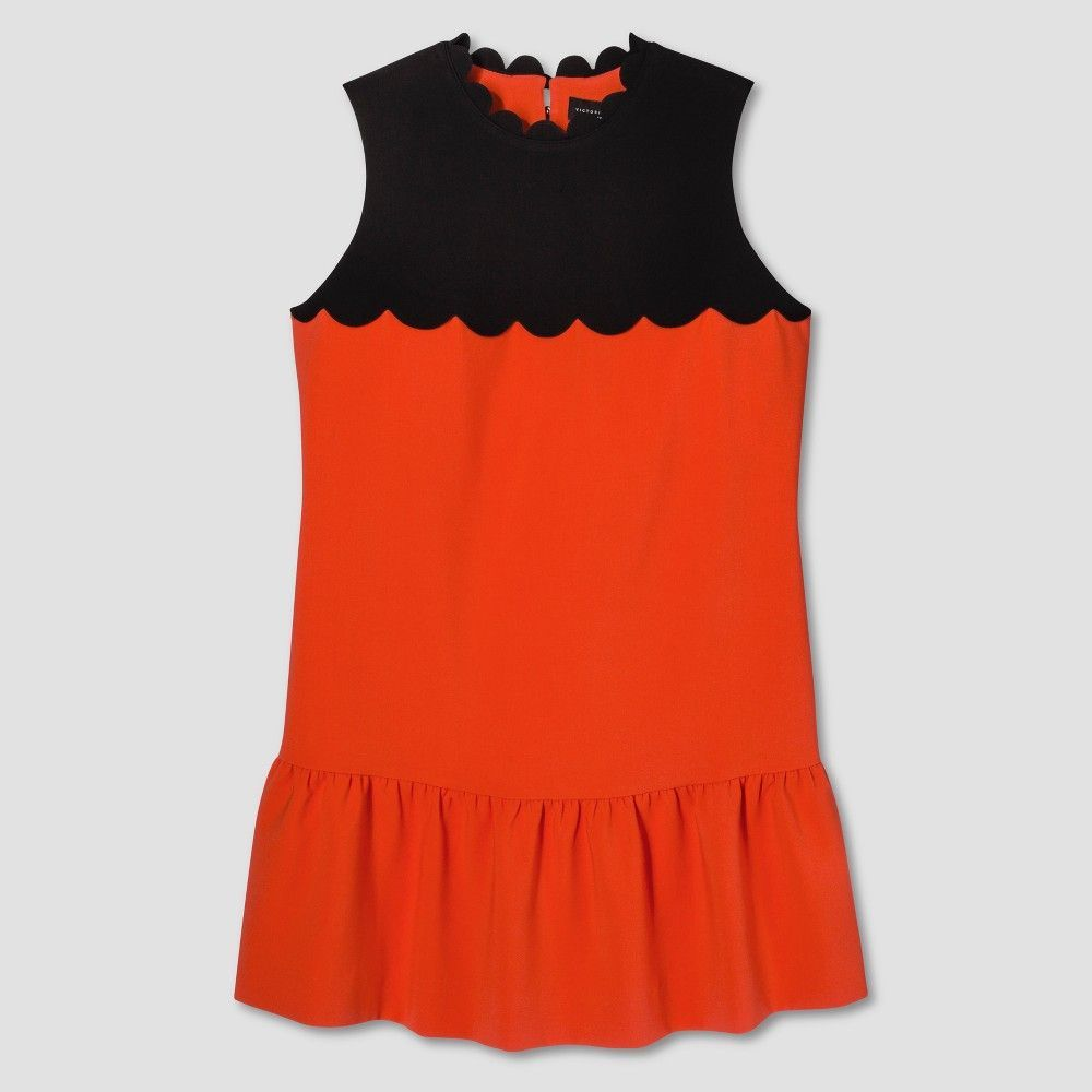 a775af7555 Plus Size Women s Plus Orange Drop Waist Scallop Trim Dress 3X - Victoria  Beckham for Target