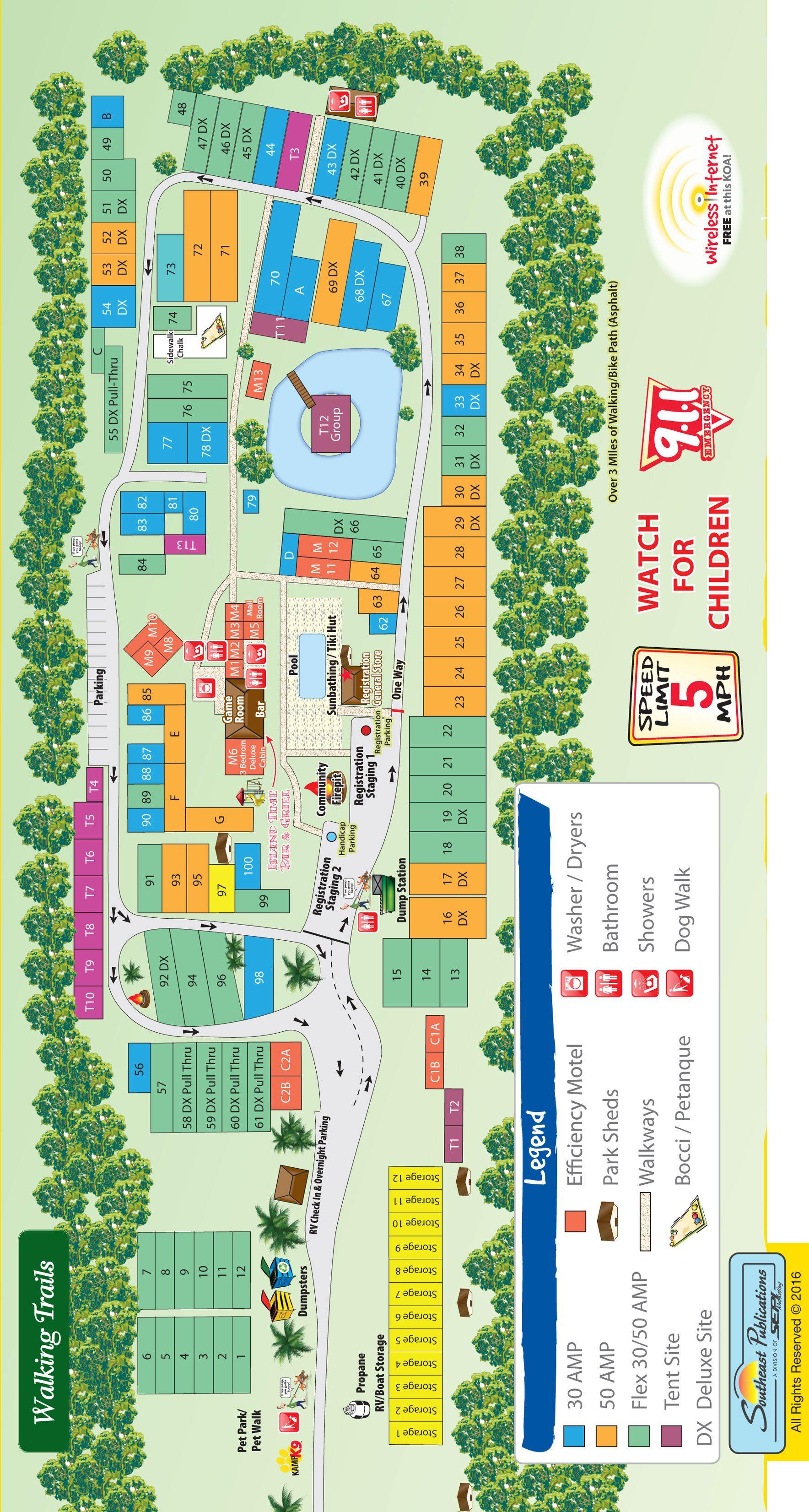 Florida Campgrounds Map.Campground Site Map Davie Koa Map Pinterest Florida