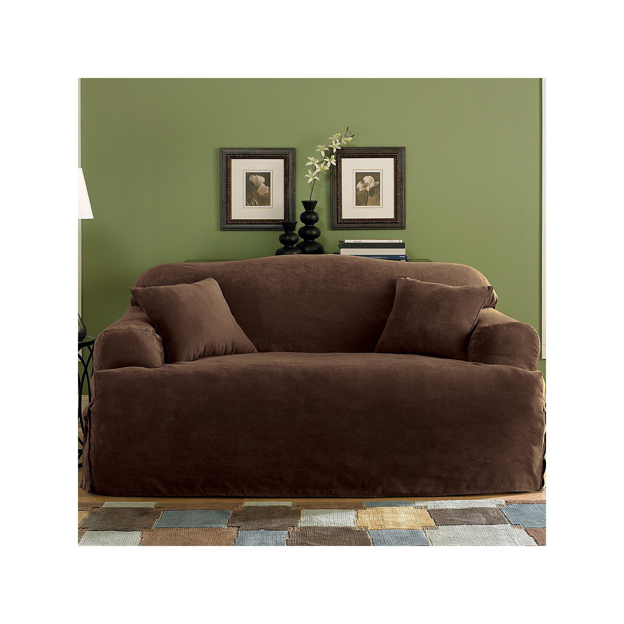 Faux Suede Sofa Cover Leather Cleaning Services Protector Maytex Piped Non