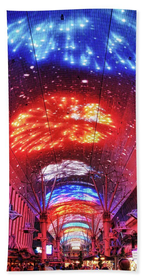 Fireworks Display In Las Vegas Bath Beach Towel By Tatiana Travelways