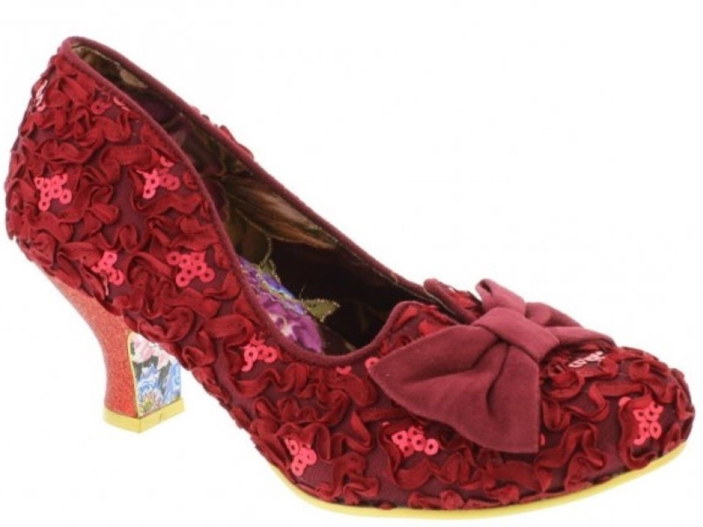 IRREGULAR CHOICE DAZZLE RAZZLE RED LACE EFFECT LOW HEEL