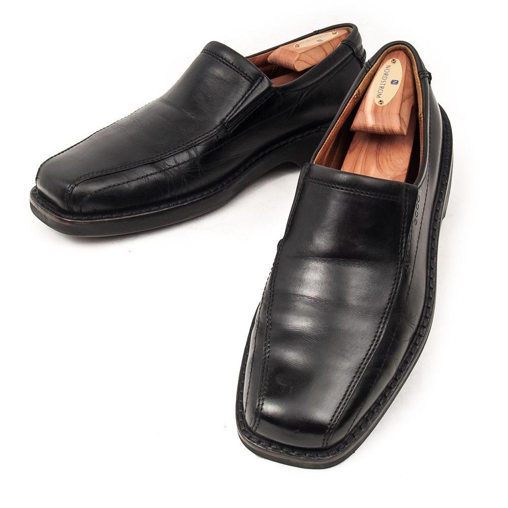 Ecco Shoes #SquareToe Slip on Loafers Black Leather Dress Casual Mens 42 US  10.5 #