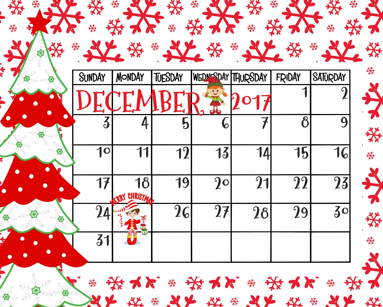 free printable december 2017 calendar merry christmas christmas christmas printables. Black Bedroom Furniture Sets. Home Design Ideas