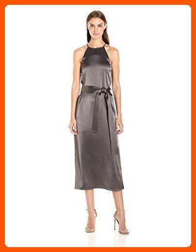 1e9704fd8f3 HALSTON HERITAGE Women s Racer Back Satin Slip Dress with Sash ...