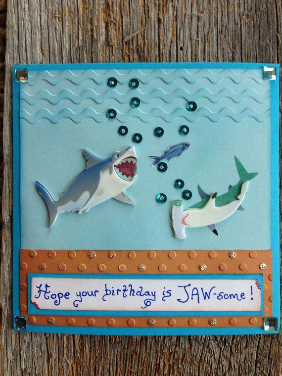 Shark Birthday Card Shark Card For Boys Birthday Fish Card Ocean