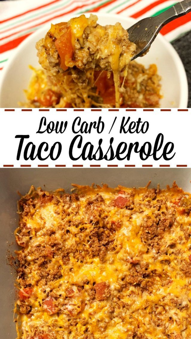 Photo of Here's a low carb / keto taco casserole. This is so easy to make that it's a mus…
