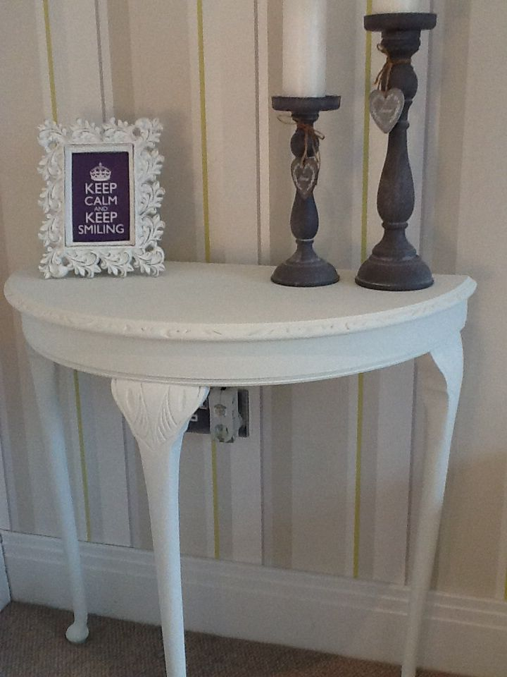 Half Moon Table In Old White Entryway Table Decor Half Moon Table Moon Decor