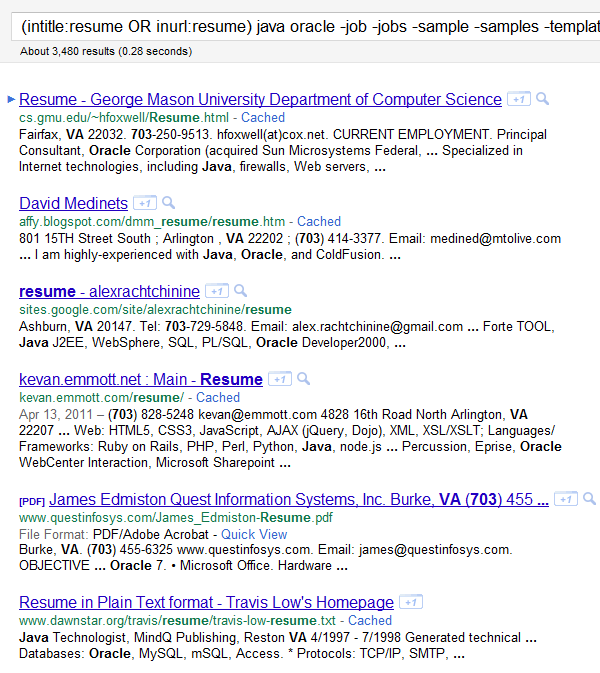 google resume boolean search example results by zip code using the numrange function example java