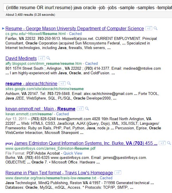 google resume boolean search