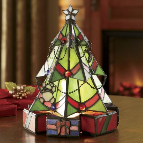 Stained Gl Christmas Tree Lamp From Seventh Avenue