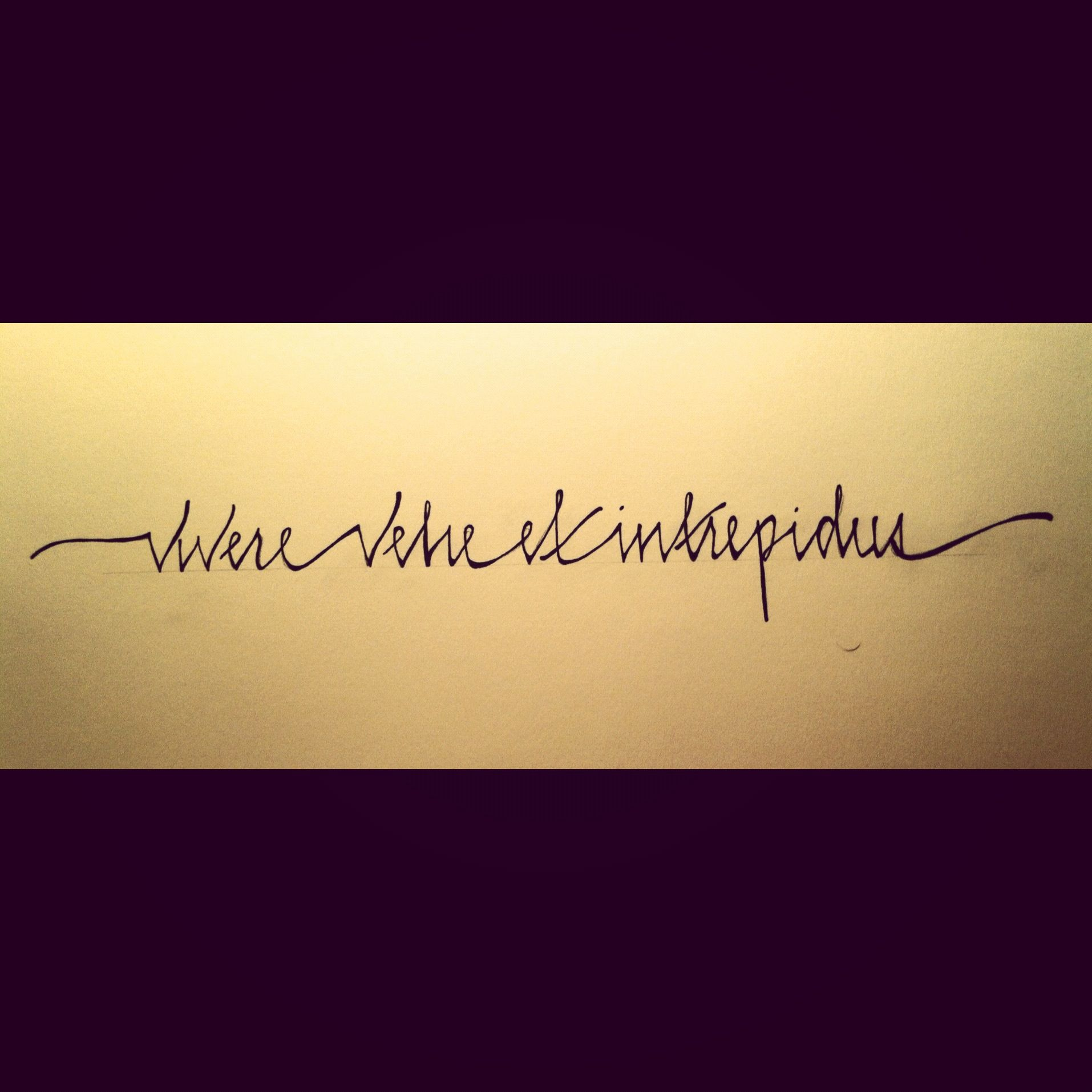"""""""vivere vehe et intrepidus""""... """"Live passionately and fearlessly"""""""