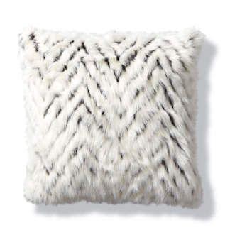 Luxury Faux Fur Pillow In Shag Diamond White Throw Pillows