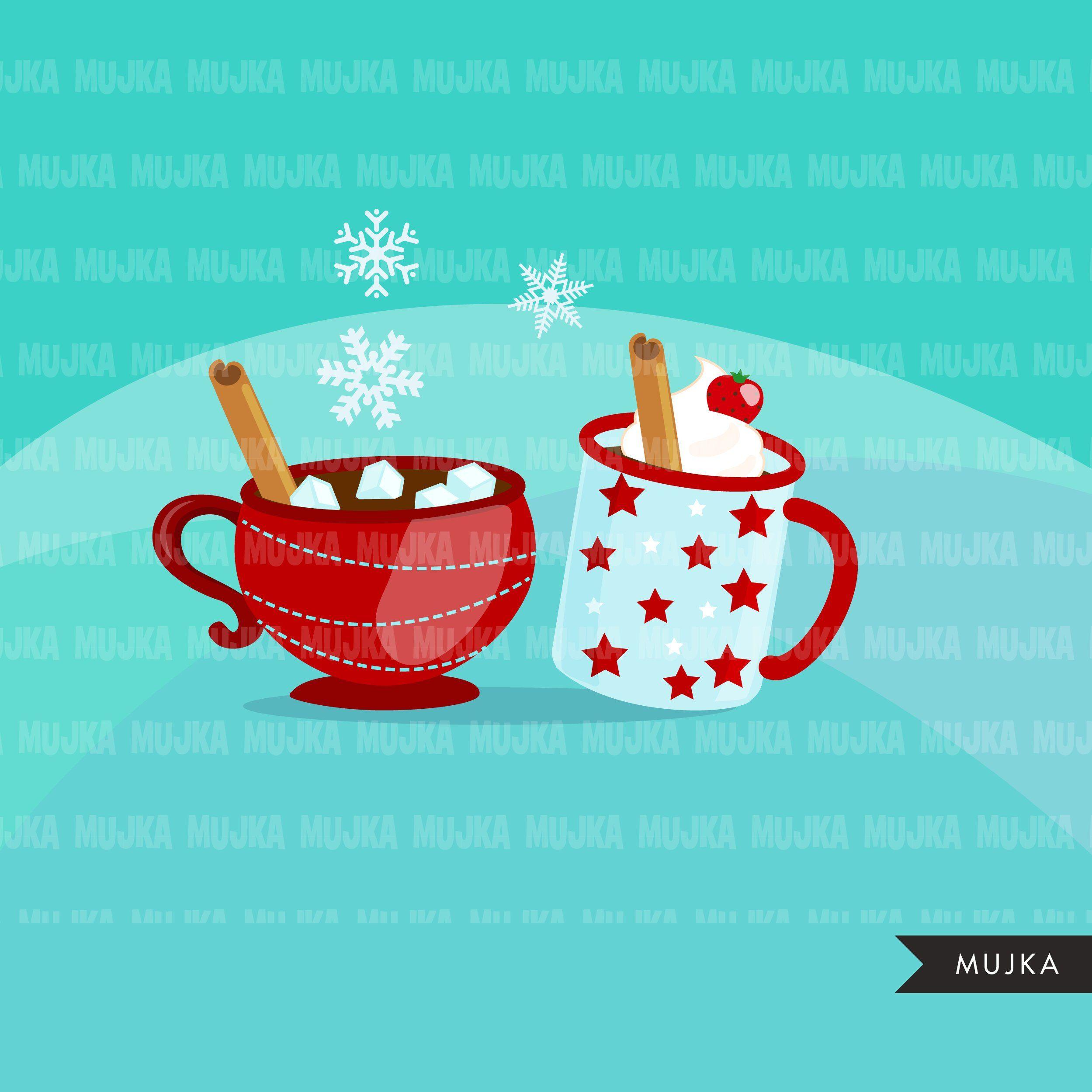 Hot Chocolate Clipart Marshmallow Cinnamon Kind Of Day Snowflakes Plaid Christmas Clip Art Graphics Hot Chocolate Clipart Hot Chocolate Scrapbooking Set