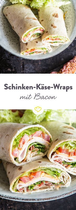 Tolle Rolle für unterwegs: Schinken-Käse-Wraps mit Bacon #schnellepartyrezepte