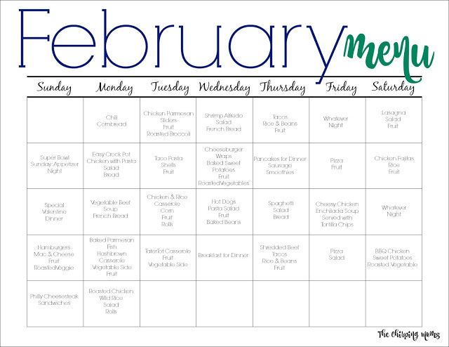 February Meal Plan for Families (Free Printable Meals, February