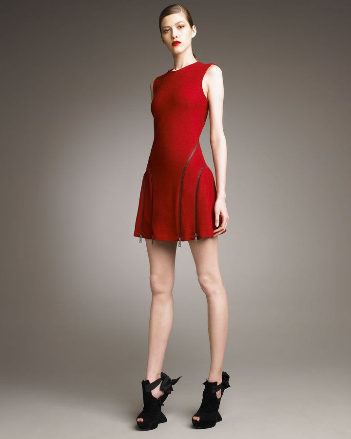 Gorgeous! Red, the fit and flare up-to-date, and the zipper detail.  Love this!