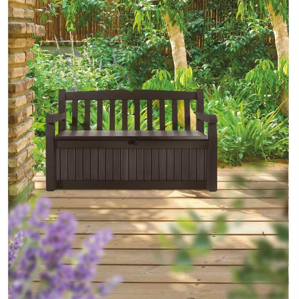 Superior Brown Resin Outdoor Patio Garden Bench With Storage Box