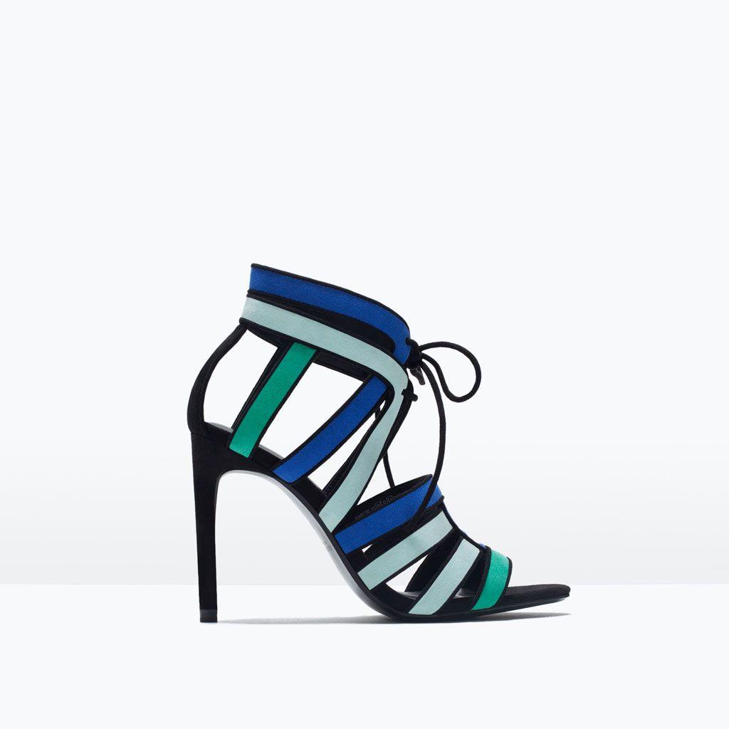 image 1 de sandales combinÉes À talon haut de zara | chaussures