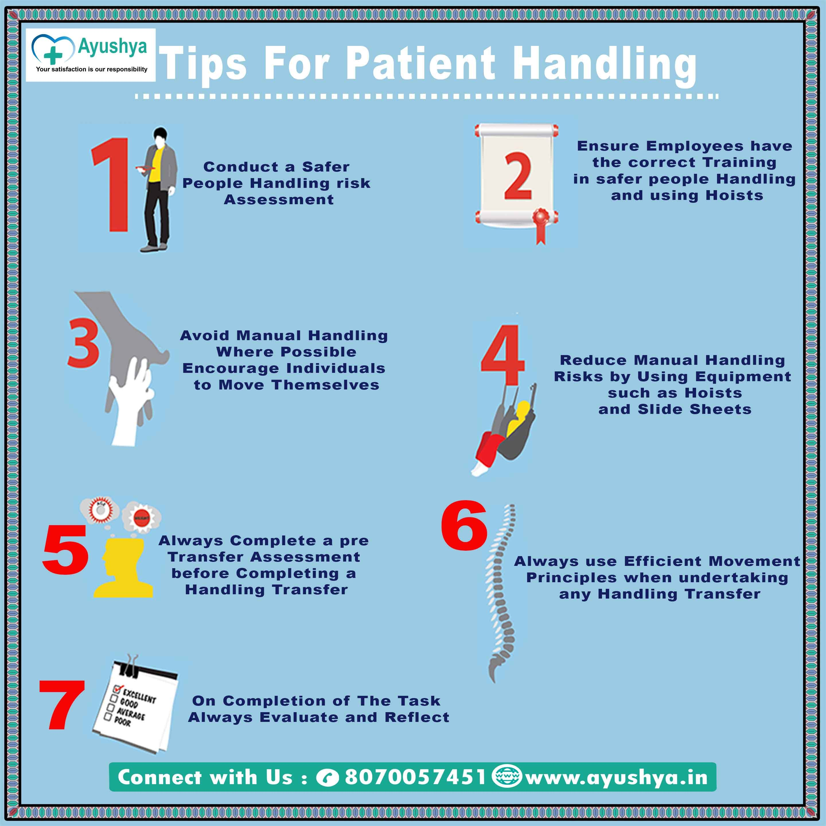 Tips For Patient Handling 1 Conduct A Safer People Handling Risk Assessment 2 Ensure Employees Have Manual Handling Home Nursing Services Homecare Nursing