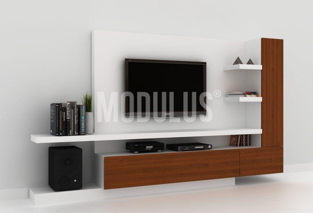 Muebles de madera para tv modernos mueble modular de for Muebles modernos living para tv