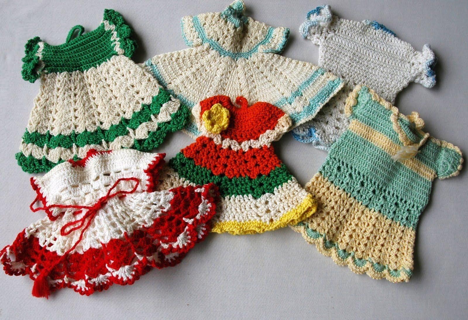 Crochet pot holder dresses