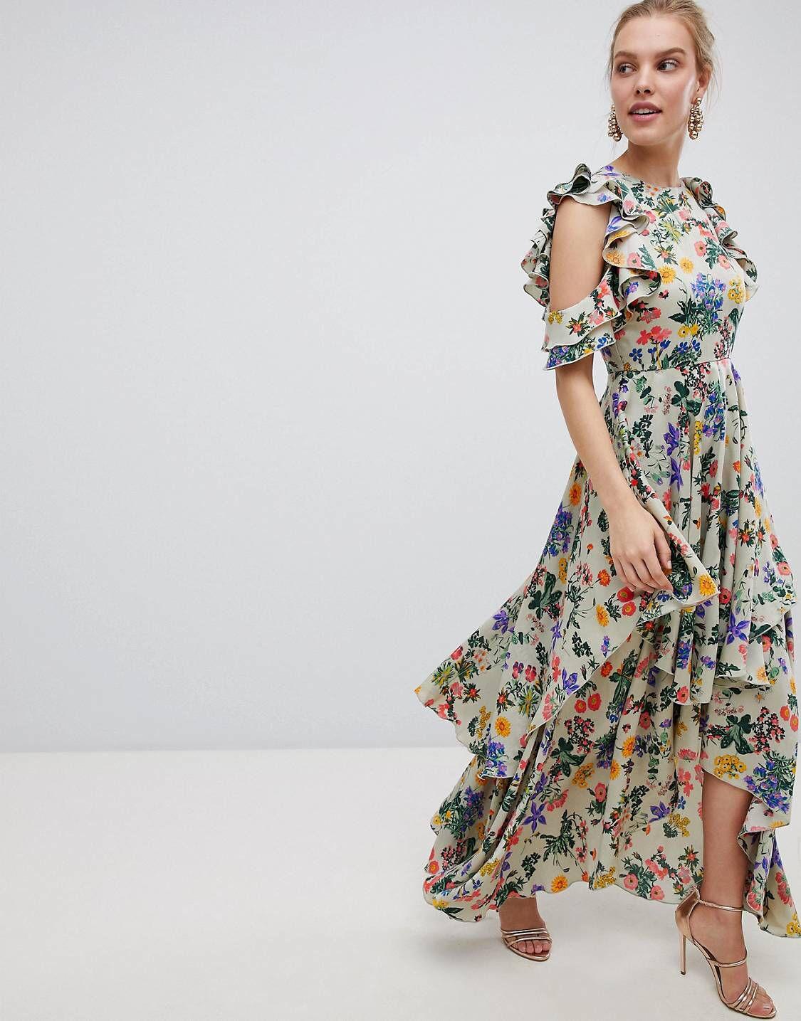 4a73988f255b DESIGN Floral Print Satin Ruffle Sleeve Maxi Dress With Dipped Hem