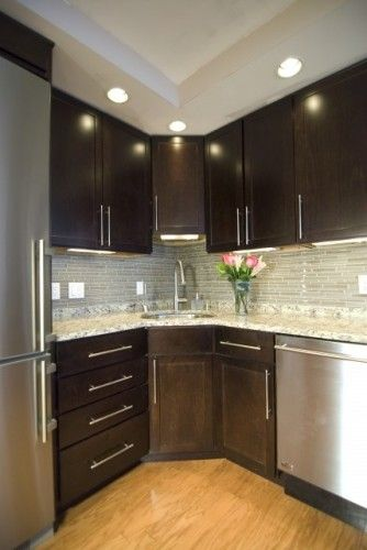 Corner Sink With Tile Backsplash Hmmm Great Use Of Wasted