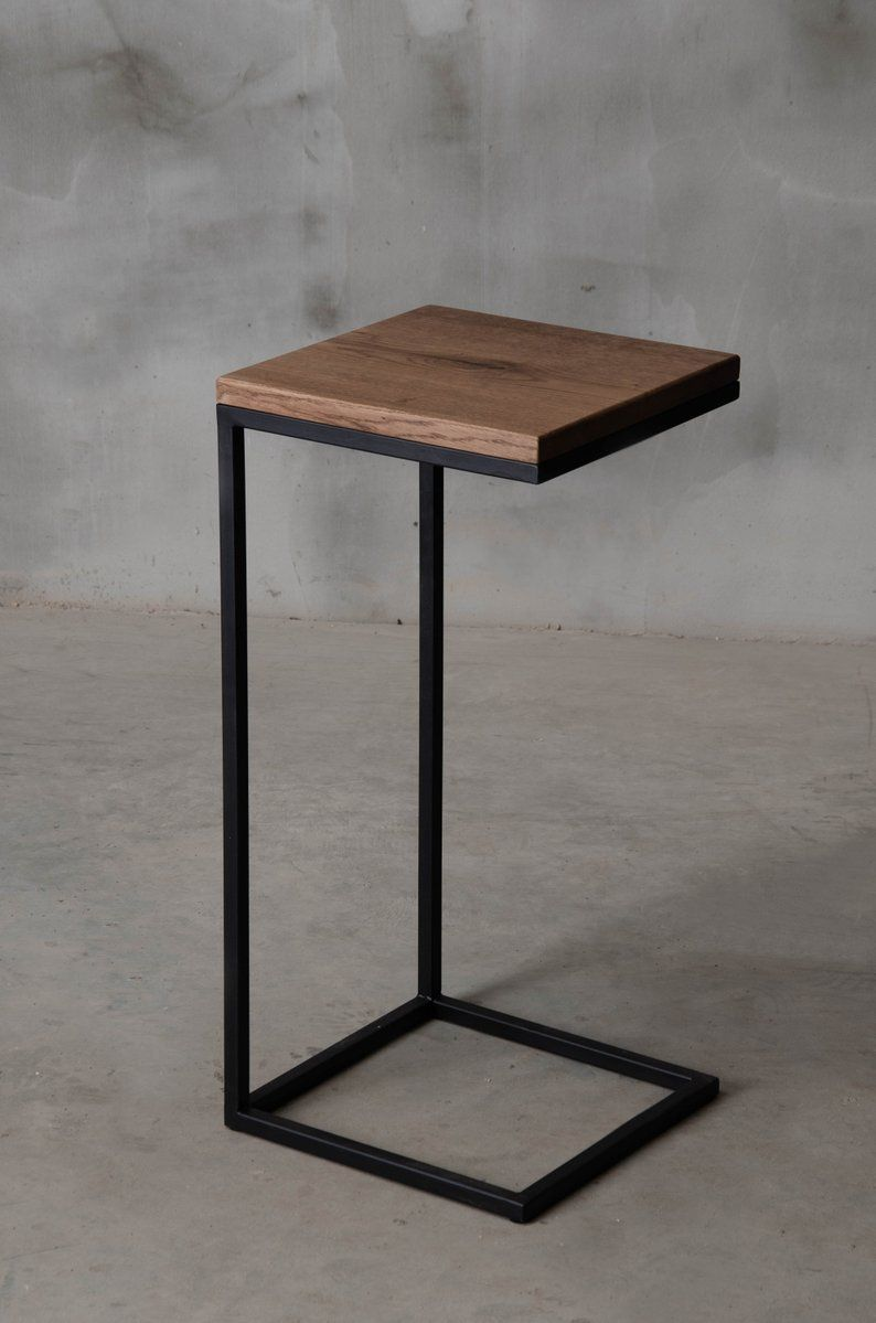 square side table with black steel leg