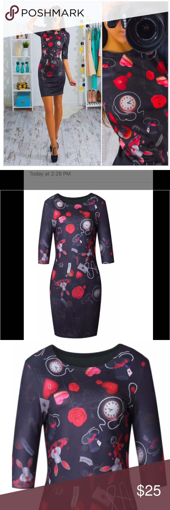 Brand new beautiful all season dress red roses dress brands and