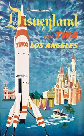 1955 Disneyland Rocket To The Moon Moonliner Travel Poster レトロアート ポスター ディズニー
