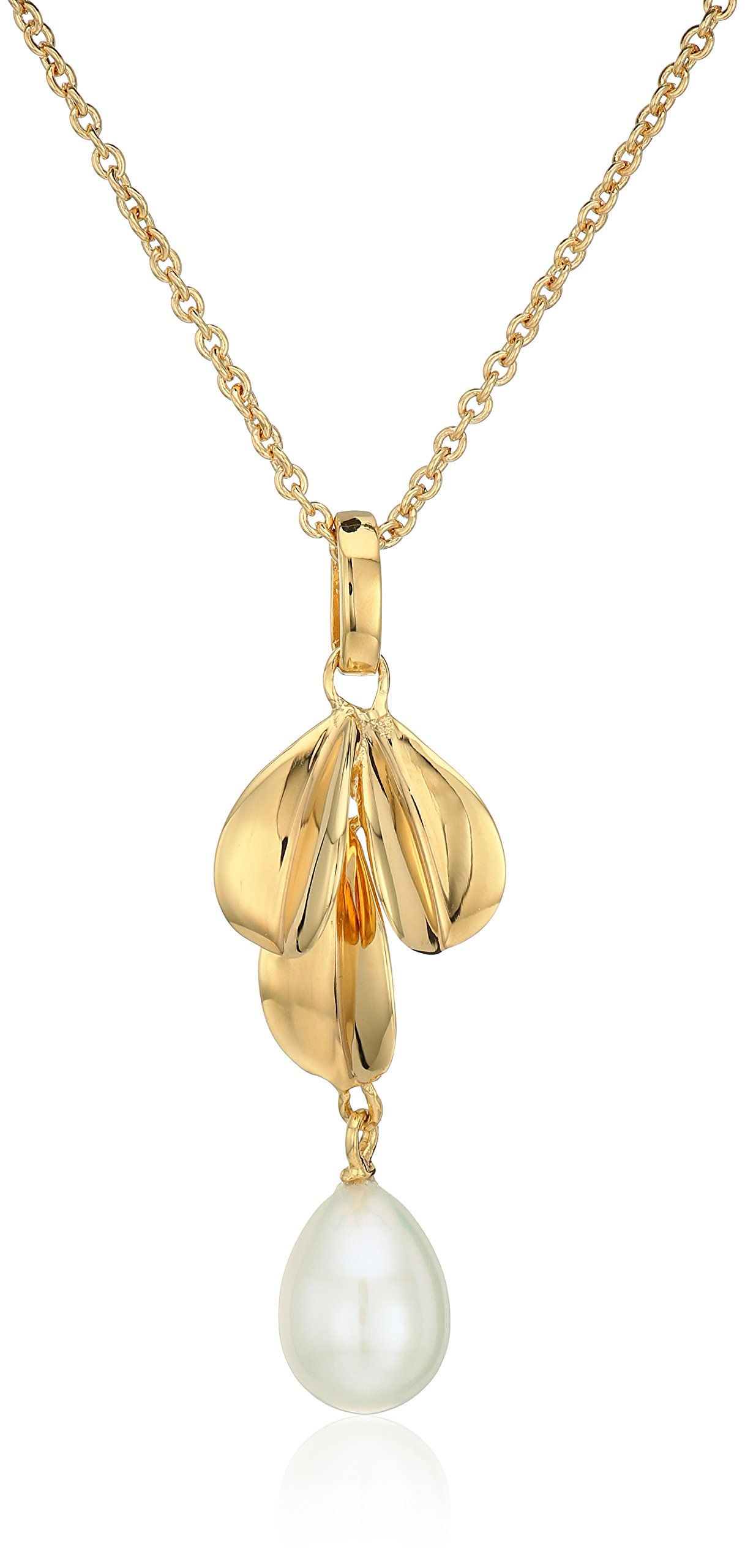 Nina fresh water pearl leafpendant necklace