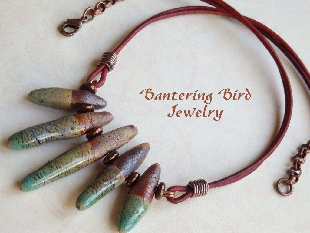 Spike Necklace, Earthy Ceramic Beads, Tribal Necklace, Leather Choker, Boho Copper Jewelry by BanteringBird on Etsy https://www.etsy.com/listing/105034911/spike-necklace-earthy-ceramic-beads