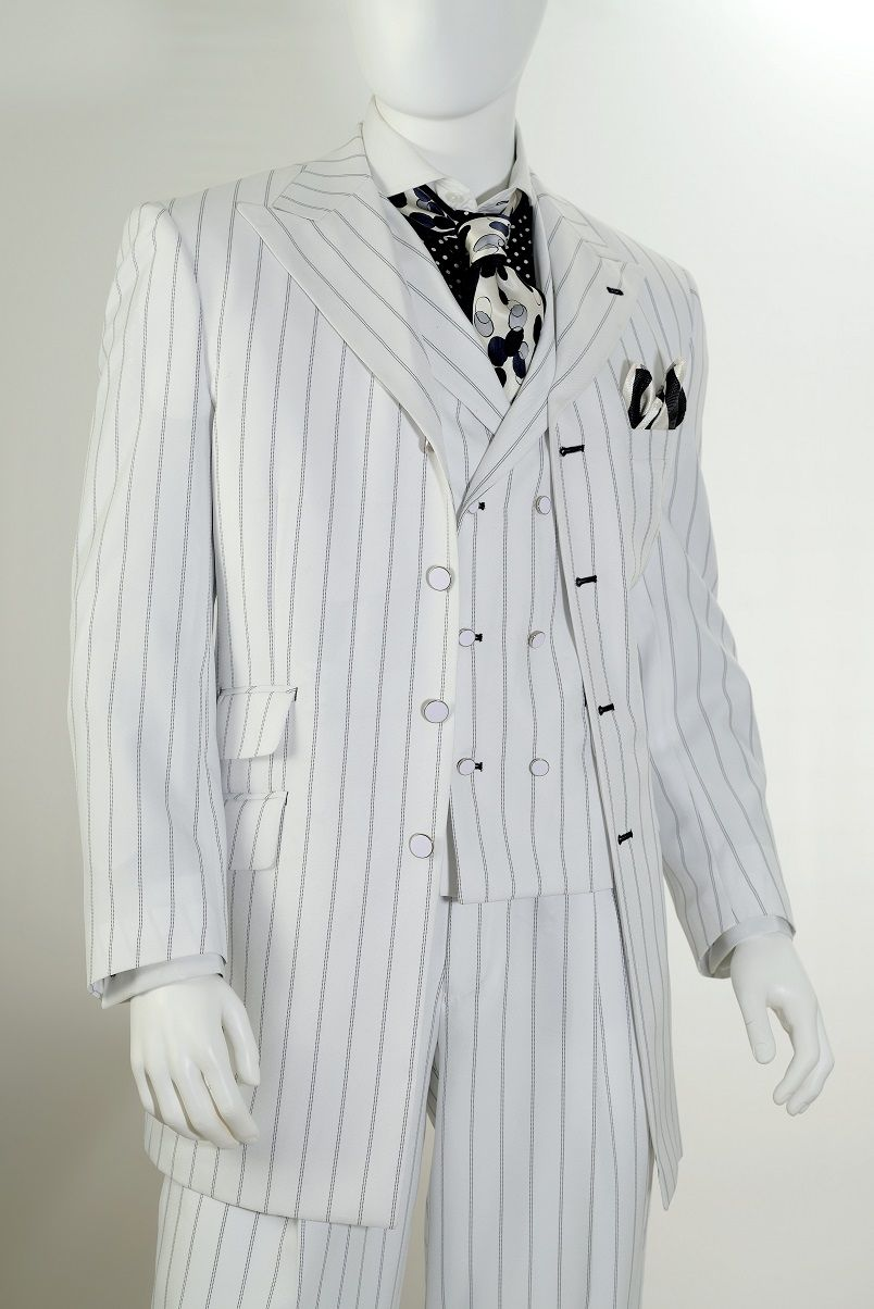 Mens White Black Stripe Gangster Style Zoot Suit By Vittorio St