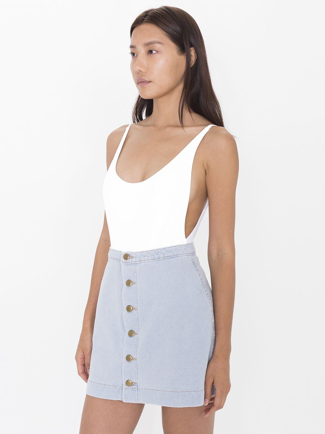 The Button Front Denim A-Line Skirt.