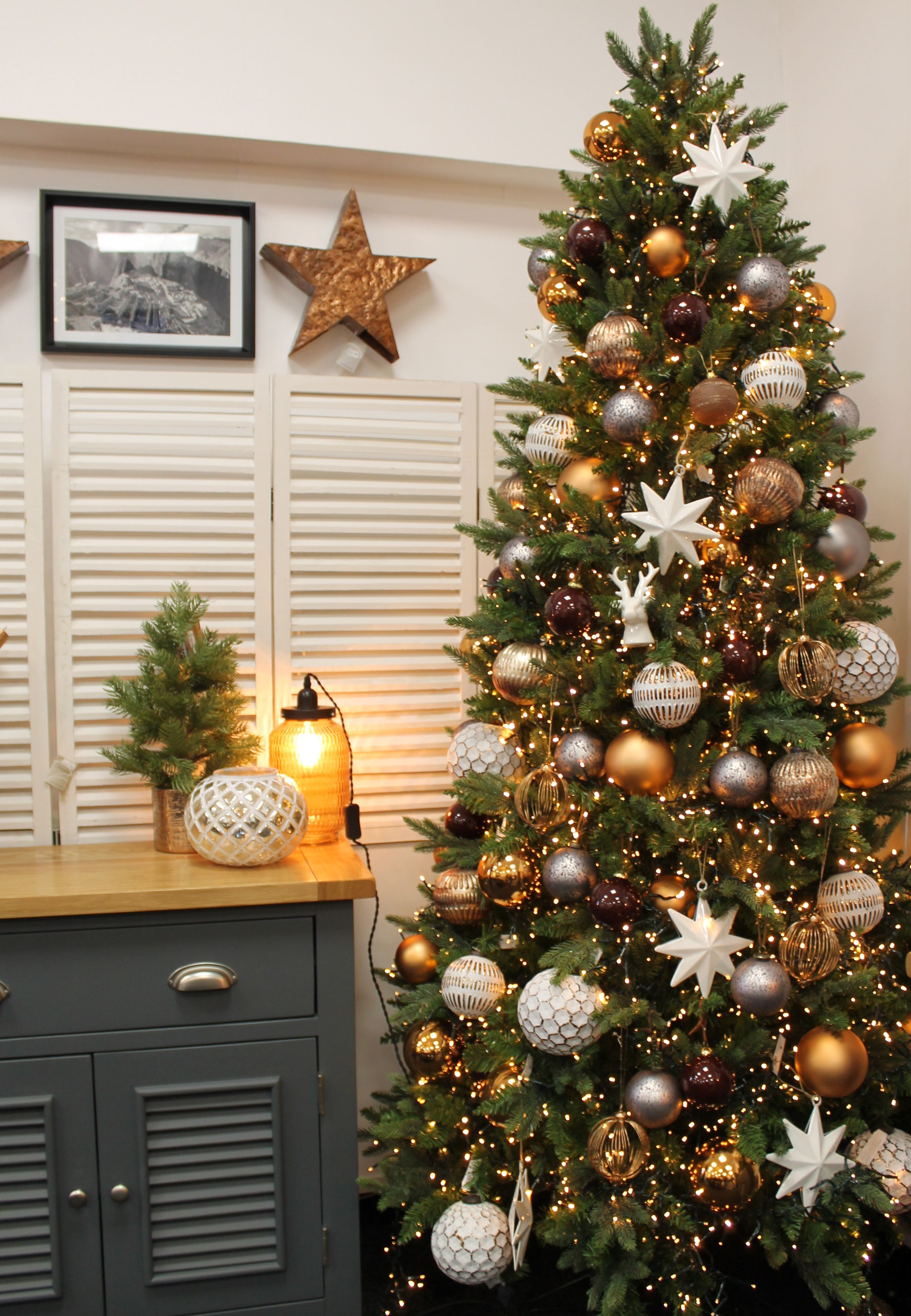 Copper grey brown and white christmas tree design idea Brown and gold christmas tree