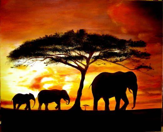 Flor al saiz artiste peintre afrique - Dessin paysage africain ...