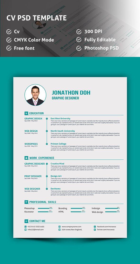 CV Template PSD CV\/Resume Design Pinterest Cv template - resume template psd