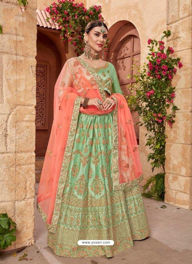 346afa569f Sea Green Silk Embroidered Designer Lehenga Choli in 2019 | Designer ...