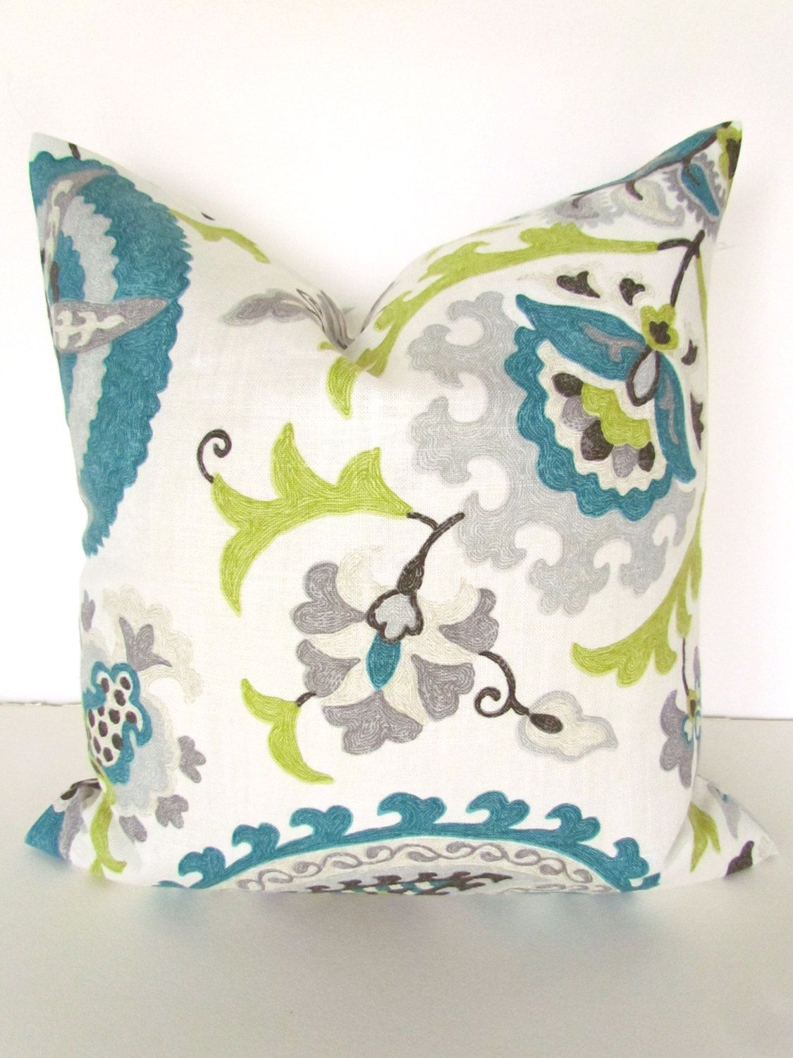 Teal Blue Pillow 16x16 Decorative Throw Pillows Gray Lime