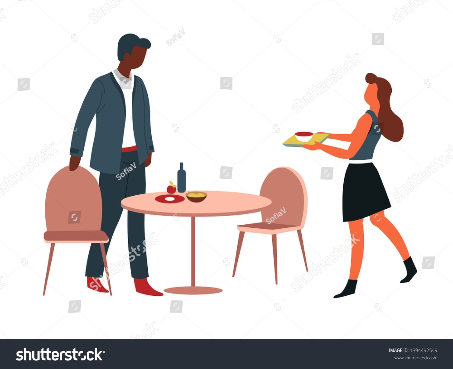 Office Canteen Man And Woman Having Lunch At Table Vector Male